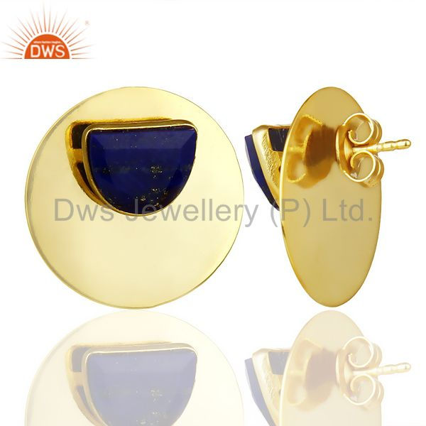 Suppliers 14K Gold Plated 925 Sterling Silver Round Design Lapis Lazuli Studs Earrings