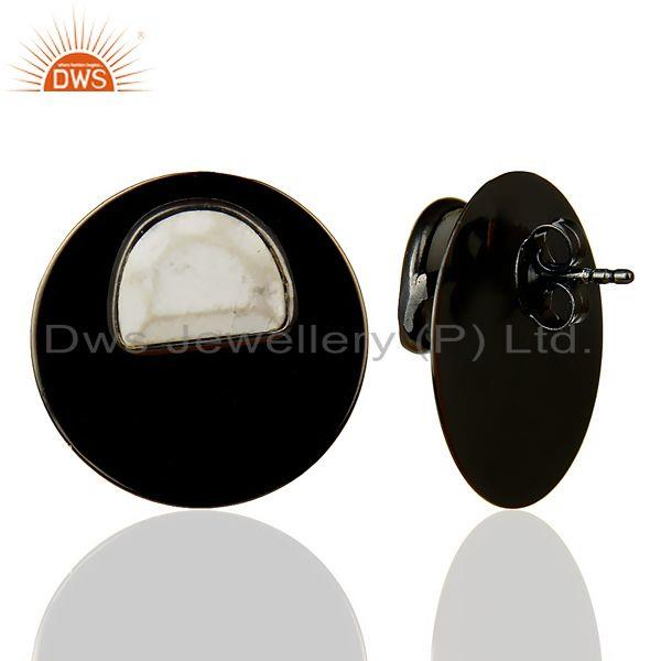 Suppliers Black Oxidized 925 Sterling Silver Round Design White Howlite Studs Earrings