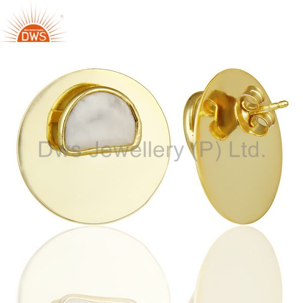 Suppliers 14K Gold Plated 925 Sterling Silver Round Design White Howlite Studs Earrings