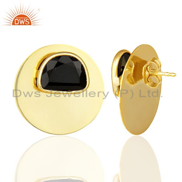 Suppliers Black Onyx Gemstone Stud 14K Yellow Gold Plated Sterling Silver Earrings Jewelry
