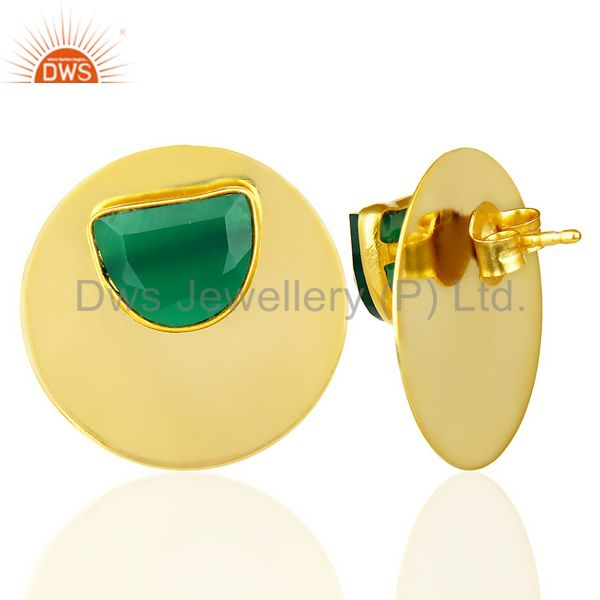 Suppliers 14K Gold Plated 925 Silver Handmade Round Design Green Onyx Studs Earrings