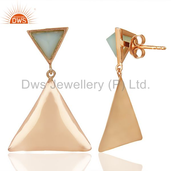Suppliers 14K Rose Gold Plated 925 Silver Handmade Pyramid Design Aqua Chalcedony Earring