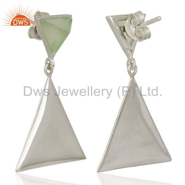 Suppliers Aqua Chalcedony Pyramid Triangle Sterling Silver Wholesale Drops Earrings