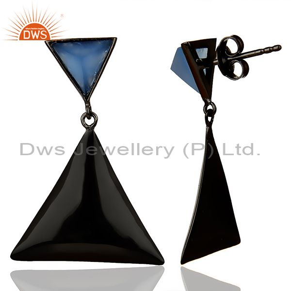 Suppliers Black Oxidized 925 Silver Handmade Pyramid Design Blue Chalcedony Drops Earrings