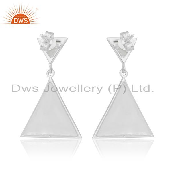 Suppliers Trianle Shape 92.5 Silver Custom Design Gemstone Earring Manufacturer from India