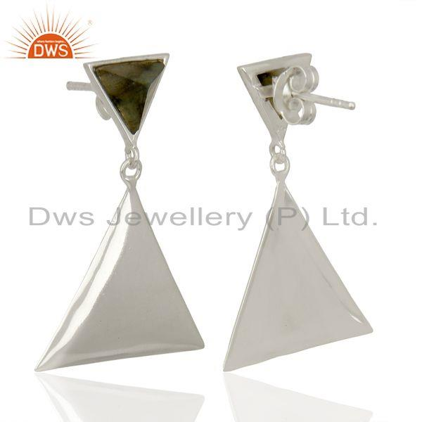 Suppliers Labradorite Pyramid Triangle Sterling Silver Wholesale Drops Earrings