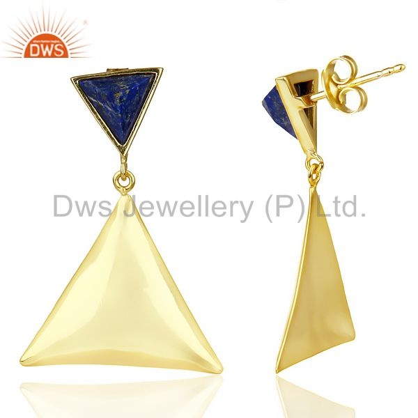 Suppliers 14K Gold Plated 925 Silver Handmade Pyramid Design Lapis Lazuli Drops Earrings
