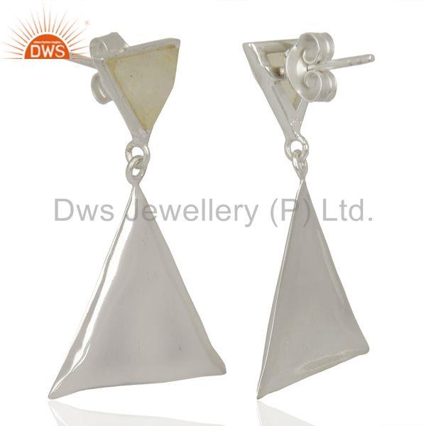 Suppliers Rainbow Moon Stone Pyramid Triangle Sterling Silver Wholesale Drops Earrings