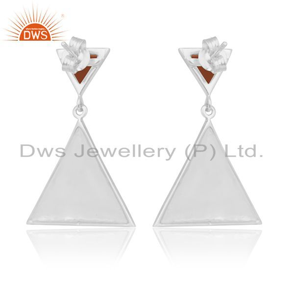 Suppliers Carnlian Gemstone 92.5 Silver Custom Triangle Earrings Manufacturer from India