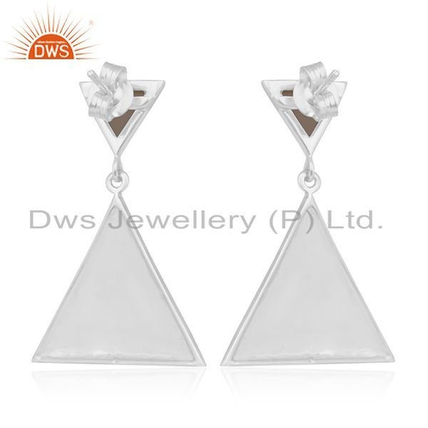 Suppliers Triangle Design 925 Silver Smoky Quartz Gemstone Earrings Manufacturer India