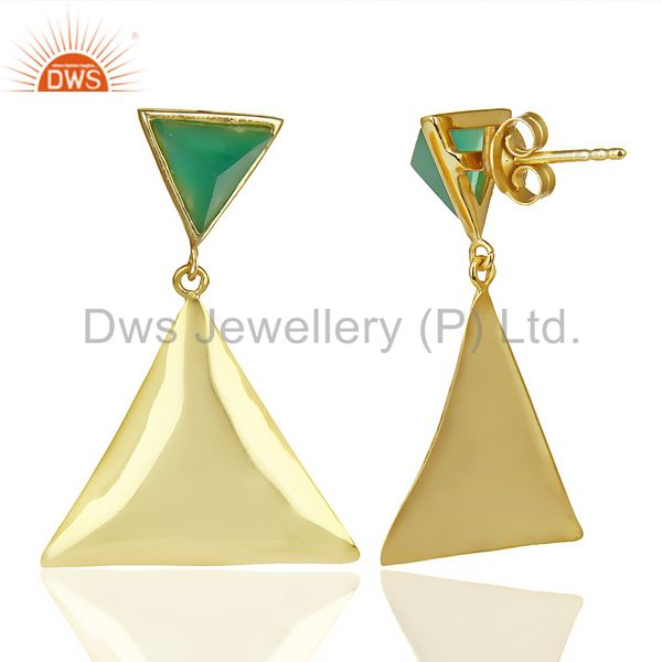 Suppliers 14K Gold Plated 925 Silver Handmade Pyramid Design Green Onyx Drops Earrings