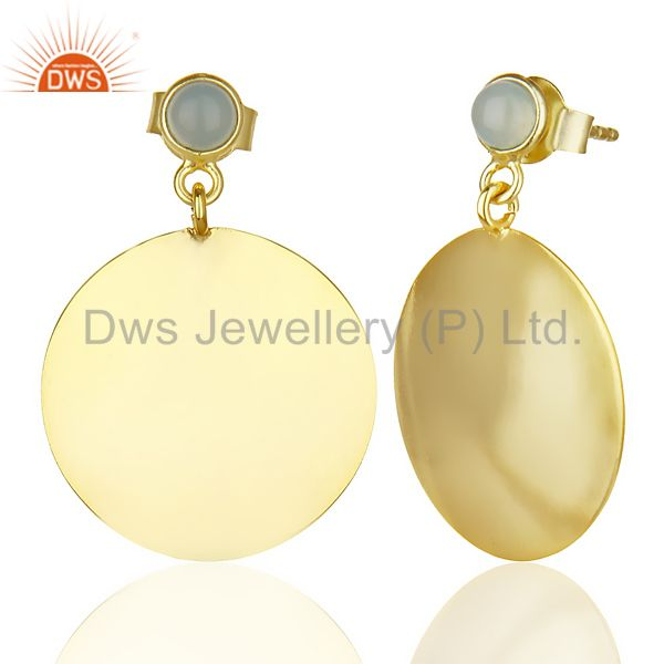 Suppliers 14K Gold Plated 925 Sterling Silver Handmade Dyed Chalcedony Drops Earrings