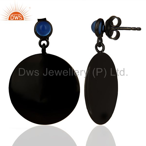 Suppliers Oxidized 925 Sterling Silver Handmade Pyramid Design Dyed Chalcedony Earrings
