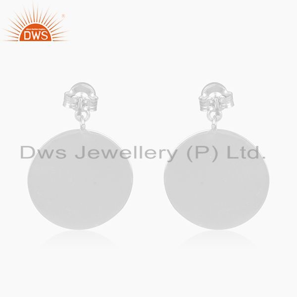 Suppliers Handmade 92.5 Fine Silver Rainbow Moonstone Girls Earrings Manufacturer India