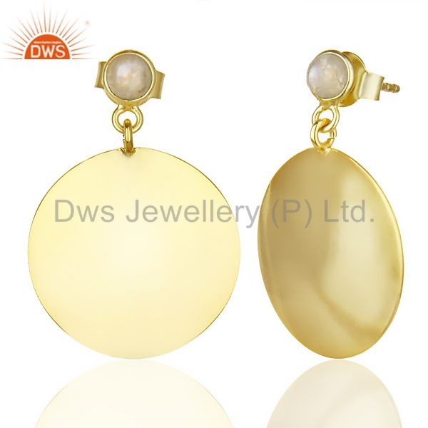 Suppliers 14K Gold Plated 925 Sterling Silver Handmade Rainbow Moonstone Drops Earrings