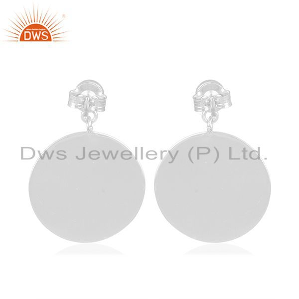Suppliers Green Onyx Gemstone Plain Sterling 925 Silver Earring Manufacturer India