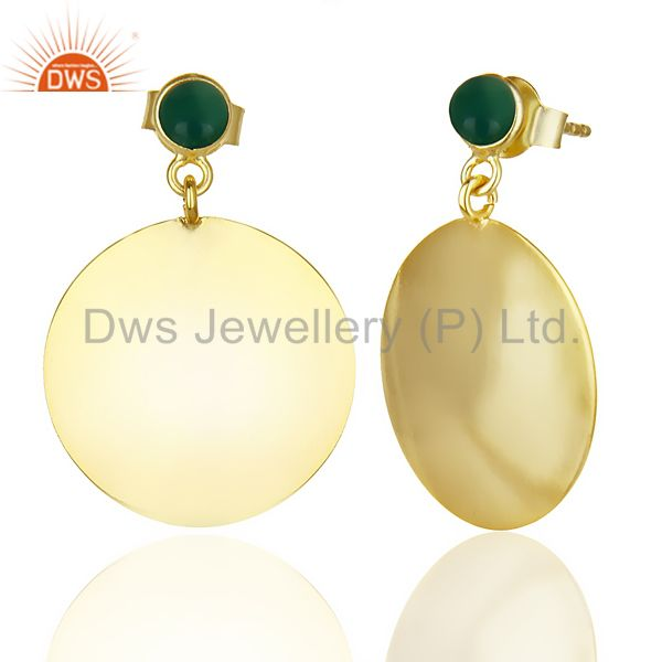 Suppliers 14K Yellow Gold Plated 925 Sterling Silver Handmade Green Onyx Dangle Earrings