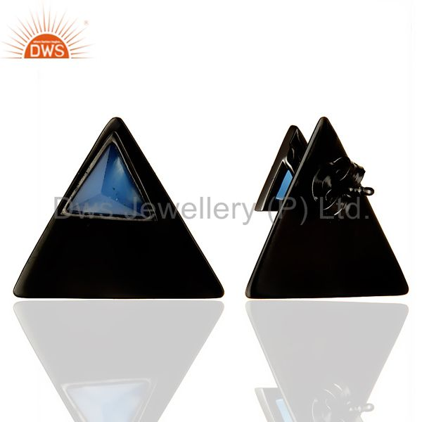 Suppliers Black Oxidized 925 Sterling Silver Handmade Dyed Blue Chalcedony Studs Earrings