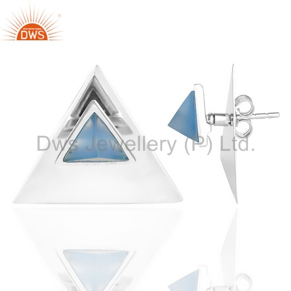 Suppliers Blue Chalcedony Two Way Stud Triangle White Rhodium 92.5 Sterling Silver Earring