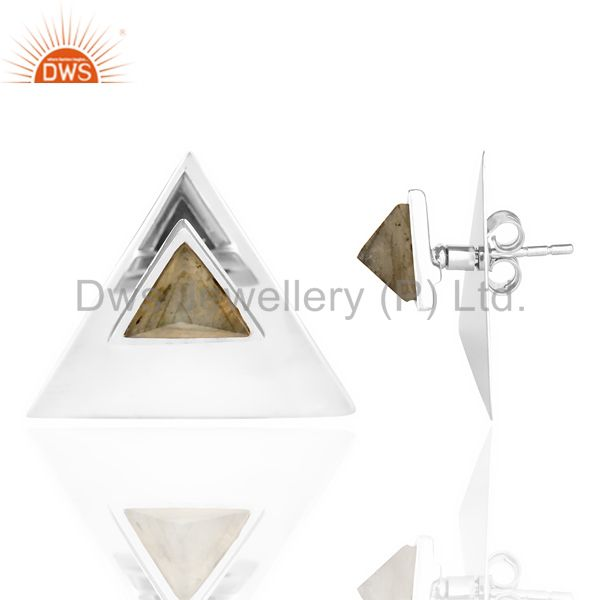 Suppliers Labrodorite Two Way Stud Triangle White Rhodium 92.5 Sterling Silver Earring
