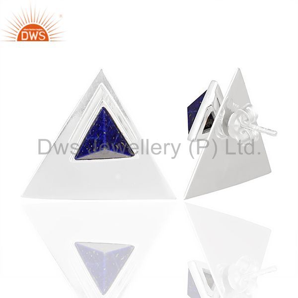 Suppliers Lapis Two Way Stud Triangle 92.5 Sterling Silver Earring