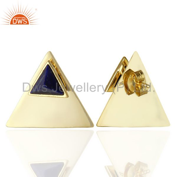 Suppliers 14K Gold Plated 925 Sterling Silver Handmade Lapis Lazuli Studs Earrings