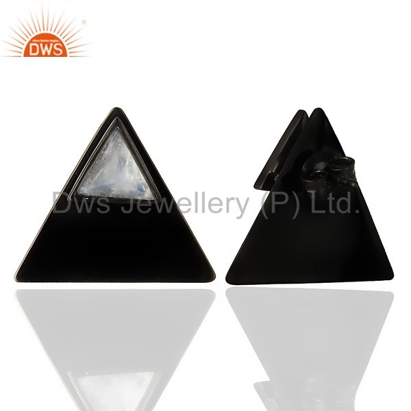 Suppliers Black Oxidized 925 Sterling Silver Pyramid Design Rainbow Moonstone Stud Earring