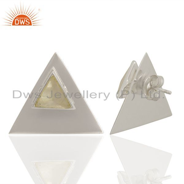 Suppliers Rainbow Moon Stone Two Way Triangle 92.5 Sterling Silver Earrings Jewelry