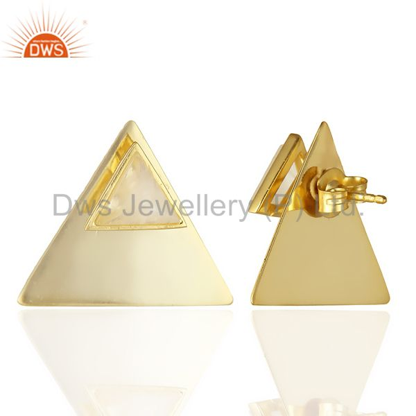 Suppliers 14K Gold Plated 925 Sterling Silver Pyramid Design Rainbow Moonstone Earrings