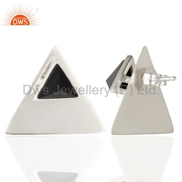 Suppliers Natual Black Onyx 925 Sterling Silver Handmade Pyramid Design Studs Earrings