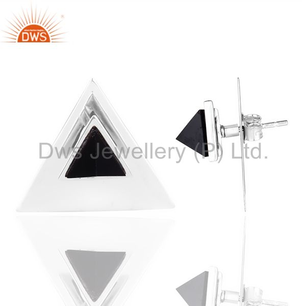 Suppliers Black Onyx Two Way Stud Triangle White Rhodium 92.5 Sterling Silver Earring