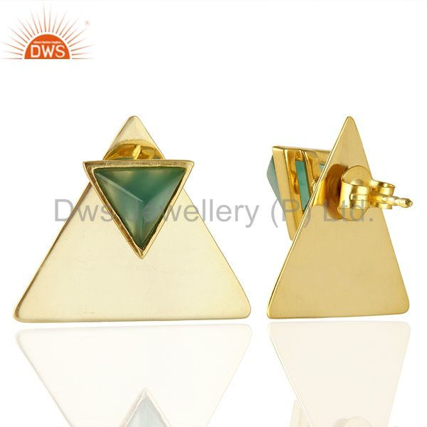 Suppliers 14K Gold Plated 925 Sterling Silver Pyramid Design Green Onyx Studs Earrings