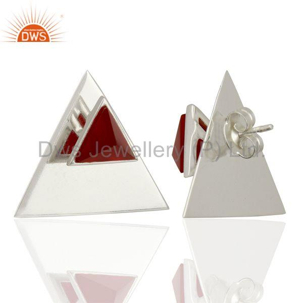 Suppliers Red Onyx Two Way Stud Triangle 92.5 Sterling Silver Earrings Jewelry