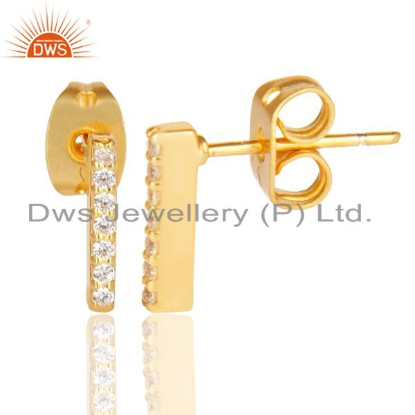 Suppliers CZ Stud 14K Yellow Gold Plated 925 Sterling Silver Earrings Exclusive Jewelry