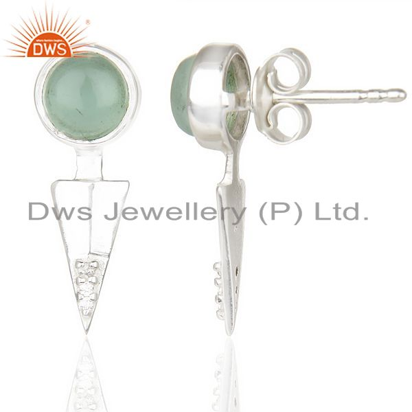 Suppliers Aqua Chalcedony Studded Two Way Earring Double Jacket earing In Solid Silver
