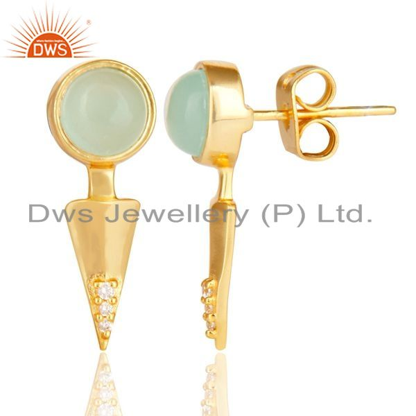 Suppliers Aqua chalcedony studded Gold Plated Double Ear Jacket In 92.5 Sterling Silver