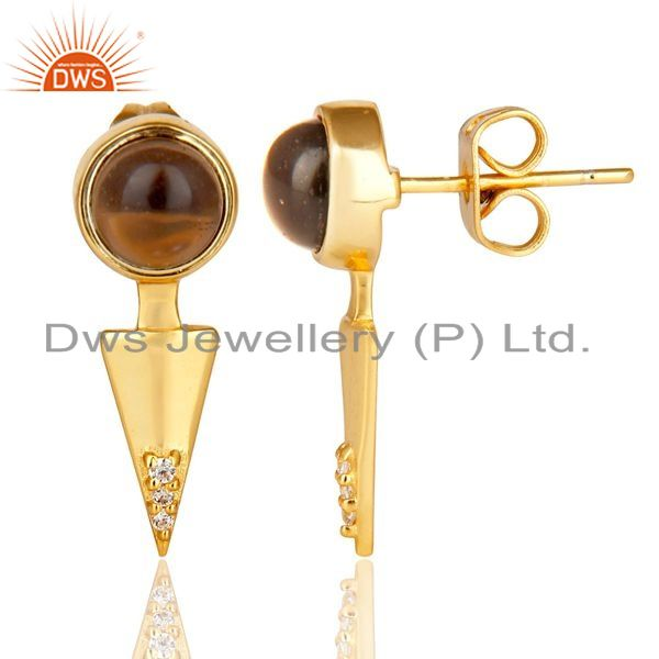 Suppliers Smoky Topaz Studded Gold Plated Double Ear Jacket In 92.5 Sterling Silver