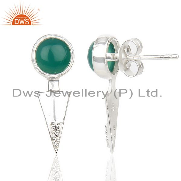 Suppliers Green Onyx Studded Two Way Earring Double Jacket earing In Solid Silver