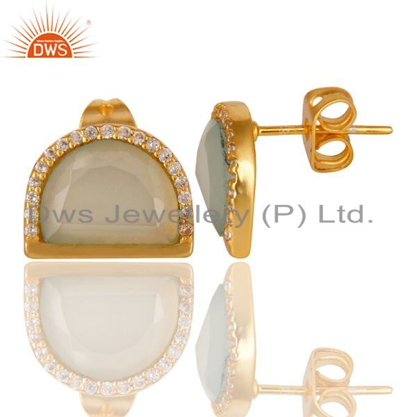 Suppliers Aqua Chalcedony Half Moon Cz Stud Gold Plated 92.5 Sterling Silver Earring