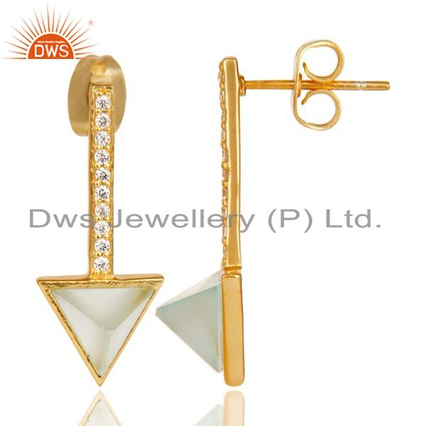 Suppliers Aqua Chalcedony Triangle Post 14K Gold Plated 92.5 Sterling Silver Earring