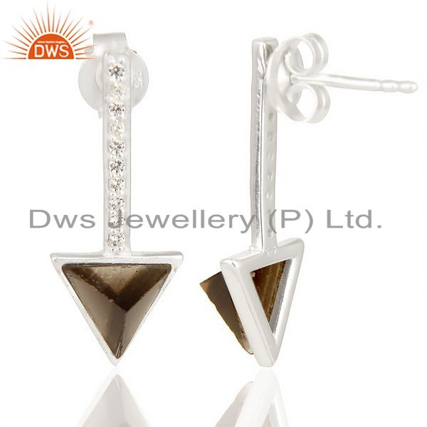 Suppliers Smoky Topaz Triangle Cut Post 92.5 Sterling Silver Earring,Stud Long Earring