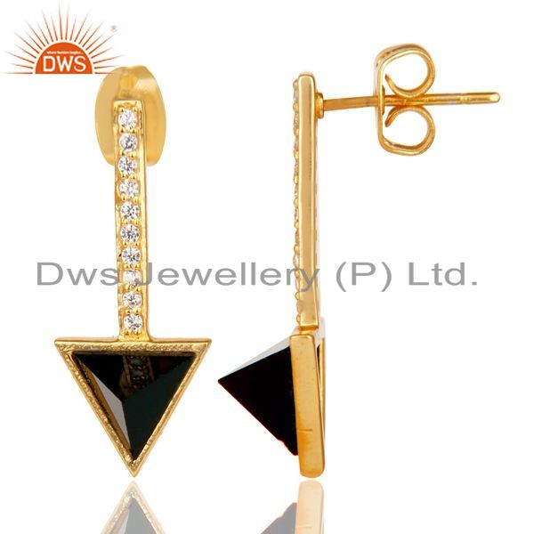 Suppliers Black Onyx Triangle Post 14K Gold Plated 92.5 Sterling Silver Earring