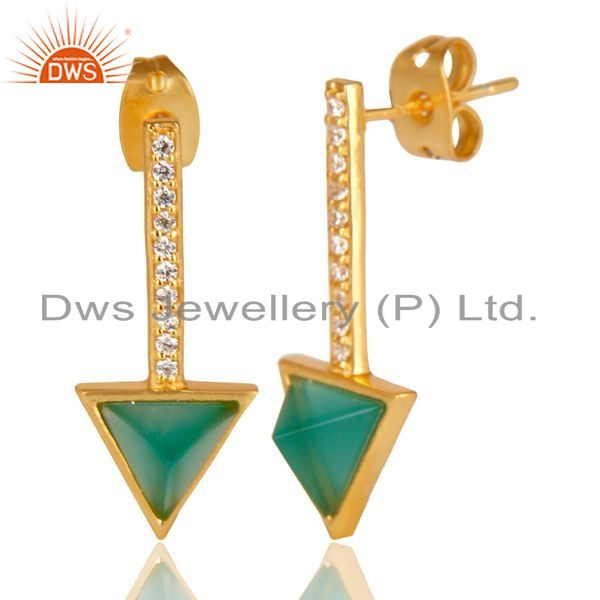 Suppliers Green Onyx Triangle Post 14K Gold Plated 92.5 Sterling Silver Earring