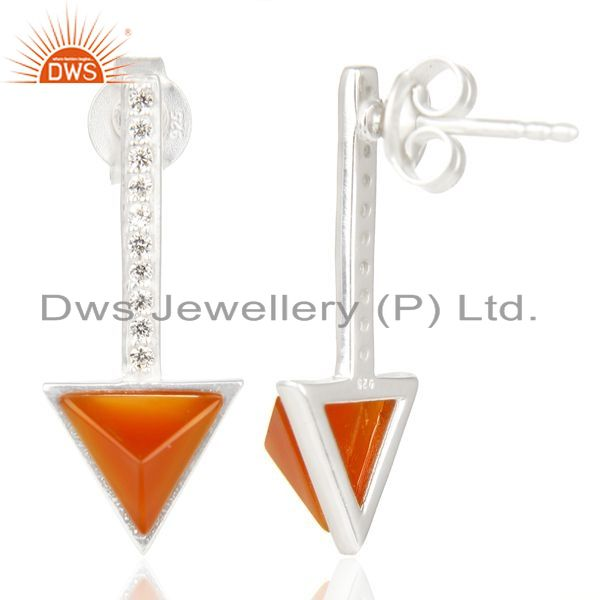 Suppliers Red Onyx Triangle Cut Post 92.5 Sterling Silver Earring,Stud Long Earring