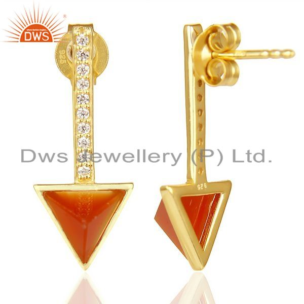 Suppliers Red Onyx Triangle Post 14K Gold Plated 92.5 Sterling Silver Earring