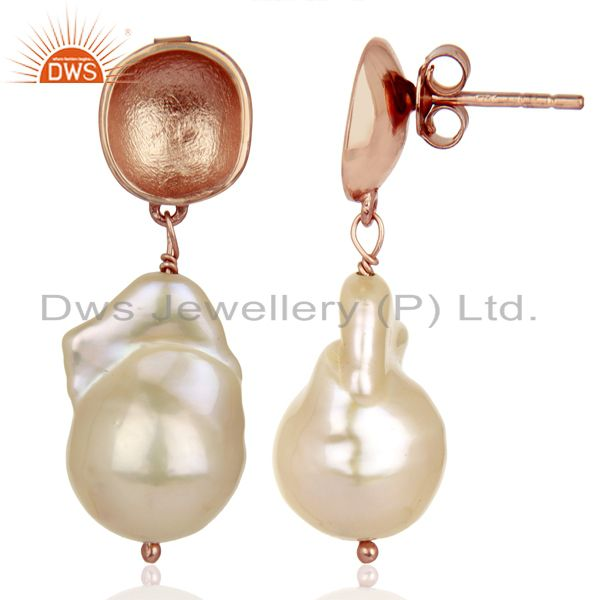 Suppliers Baroque Fresh Water Pearl Long Dangle Rose Gold 92.5 Silver Earring