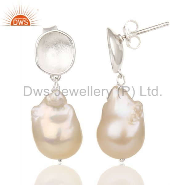 Suppliers Baroque Fresh Water Pearl Long Dangle 92.5 Sterling Silver Earring