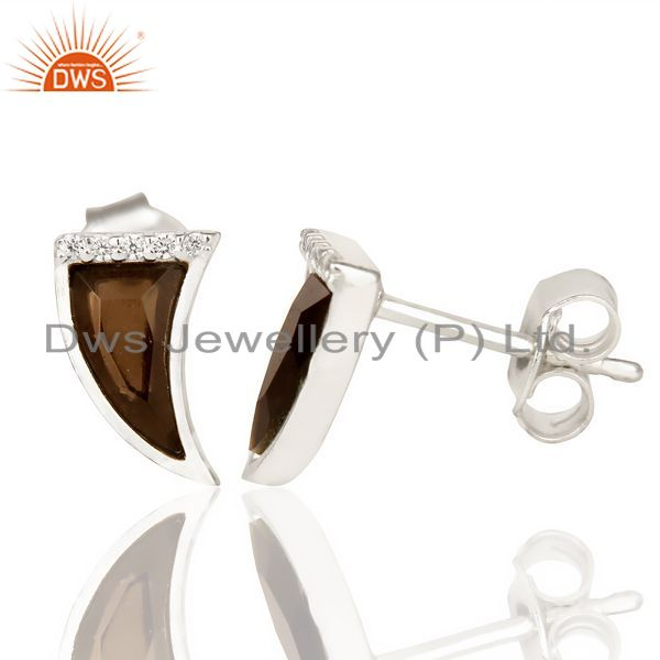 Suppliers Smoky Topaz Tiny Horn Cz Studded Post 92.5 Sterling Silver Small Earring