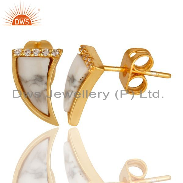 Suppliers Howlite Tiny Horn Cz Studded Post Gold Plated Sterling Silver Earring