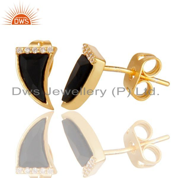 Suppliers Black Onyx Tiny Horn Cz Studded Post Gold Plated Sterling Silver Earring